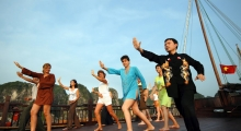tour 6 day 13 - tai chi on the boat